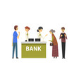 people consulting at managers at bank office vector image vector image