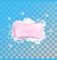 pink soap with bubbles vector image vector image
