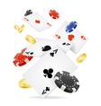Playing Cards and Poker Chips Fly vector image vector image
