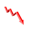 red 3d down arrow financial graph vector image vector image