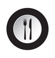 round black white button icon - fork and knife vector image