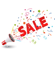 Sale with megaphone and colorful confetti vector image