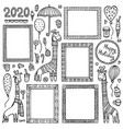 set black doodle frames and giraffes vector image