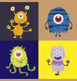 set of cute monster cartoon character 002 vector image vector image