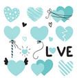 set of different blue hearts with lettering for vector image