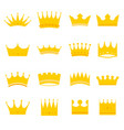 set of golden modern crowns icons vector image vector image