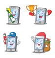 set of iphone character with plumber boxing beer vector image vector image