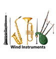 set of wind instruments vector image vector image