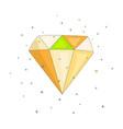 shiny colored diamond cartoon icon diamond icon vector image