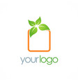 square green leaf logo vector image vector image