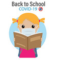 student with a mask as prevention to go to school vector image vector image