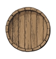 Top view of sketch style wooden barrel with tap vector image