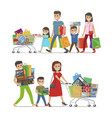 two walking and smiling families with purchases vector image