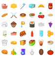 variety of food icons set cartoon style vector image vector image