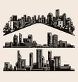 vintage monochrome set modern cityscapes vector image vector image
