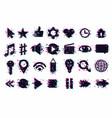 web icons set user interface symbols glitch vector image