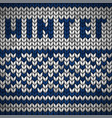 white knitted fabric with a blue ornament and vector image vector image