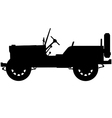 world war two military jeep silhouette vector image