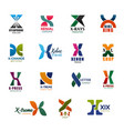 x letter icons and fonts for business organization vector image