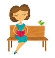 Young girl sitting on a bench and reading a book vector image