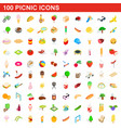 100 picnic icons set isometric 3d style vector image