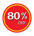 80 off discount price tag isolated vector image vector image