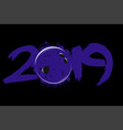 abstract number 2019 and a bowling ball from blots vector image vector image