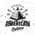 american indian wigwam vintage emblem vector image vector image