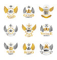 ancient crowns emblems set heraldic design vector image vector image