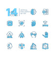 artificial intelligence - set of line design style vector image vector image