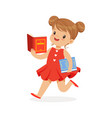 beautiful girl in red dress running and reading a vector image vector image