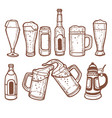 beer bottles mugs and glasses in hand drawn style vector image