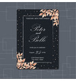 black floral wedding invitation with brown leaves vector image