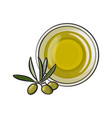 bowl of natural oil massage decorated with olive vector image vector image