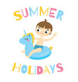 boy sitting on swimming circle unicorn kid having vector image vector image