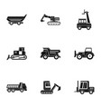 building heavy vehicle icon set simple style vector image vector image