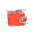 cartoon wallet icon in comic style money purse vector image vector image