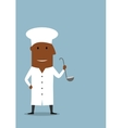 Chef or cook in white uniform with ladle vector image