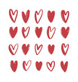 collection various red hand drawn hearts vector image
