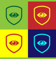 color shield and eye icon isolated on color vector image vector image