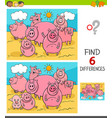 differences game with pigs farm animals vector image vector image