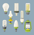 different bulbs symbols of light in cartoon style vector image