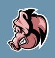 evil pig in profile cartoon style vector image