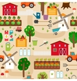 Farm seamless pattern with tractor and beds apple vector image vector image