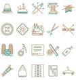 Flat line icons collection of sewing items vector image vector image
