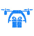 gift drone delivery grunge icon vector image vector image