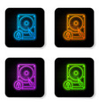 glowing neon hard disk drive and lock icon vector image vector image