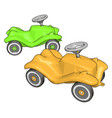 green and yellow kids car on white background vector image vector image