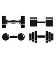 gym dumbell icon set simple style vector image