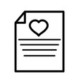 happy valentines day letter paper heart love vector image